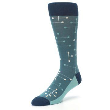 Image of Teal Dot Line Men's Dress Socks (side-2-front-08)