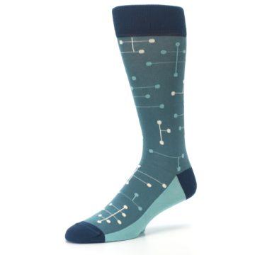 Image of Teal Dot Line Men's Dress Socks (side-2-09)