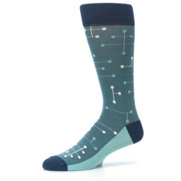 Image of Teal Dot Line Men's Dress Socks (side-2-10)
