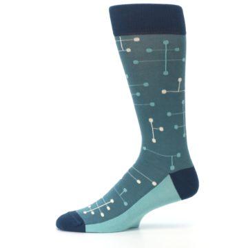 Image of Teal Dot Line Men's Dress Socks (side-2-11)