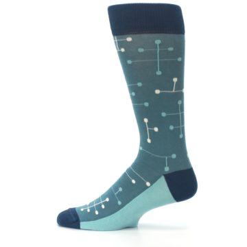 Image of Teal Dot Line Men's Dress Socks (side-2-12)