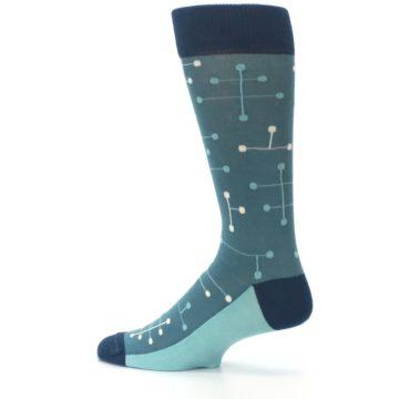 Image of Teal Dot Line Men's Dress Socks (side-2-13)