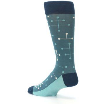 Image of Teal Dot Line Men's Dress Socks (side-2-back-14)