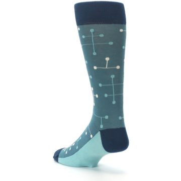 Image of Teal Dot Line Men's Dress Socks (side-2-back-15)
