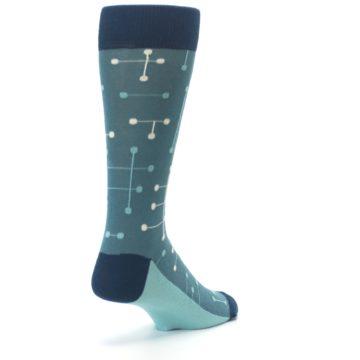 Image of Teal Dot Line Men's Dress Socks (side-1-back-21)