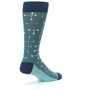 Image of Teal Dot Line Men's Dress Socks (side-1-back-22)
