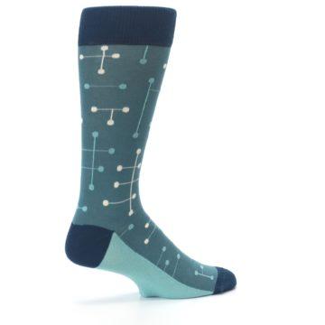 Image of Teal Dot Line Men's Dress Socks (side-1-23)