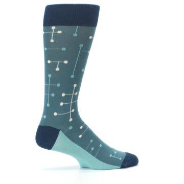 Image of Teal Dot Line Men's Dress Socks (side-1-24)