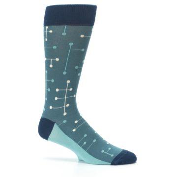 Image of Teal Dot Line Men's Dress Socks (side-1-25)