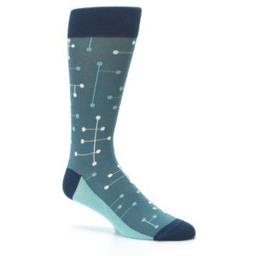 Image of Teal Dot Line Men's Dress Socks (side-1-26)