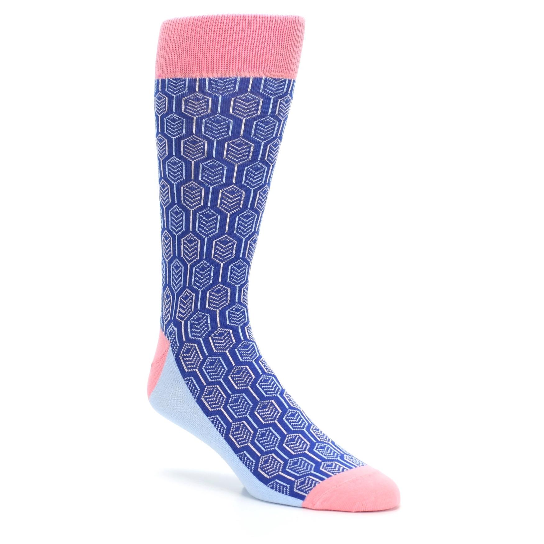 Pink Blue Feather Optics Dress Socks