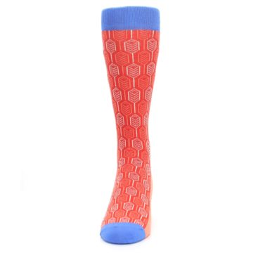 Image of Persimmon Red Blue Feather Optics Men's Dress Socks (front-05)