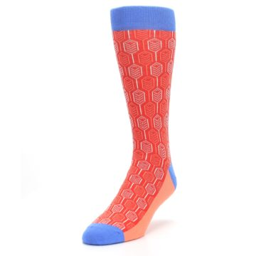 Image of Persimmon Red Blue Feather Optics Men's Dress Socks (side-2-front-07)