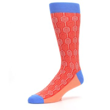 Image of Persimmon Red Blue Feather Optics Men's Dress Socks (side-2-09)