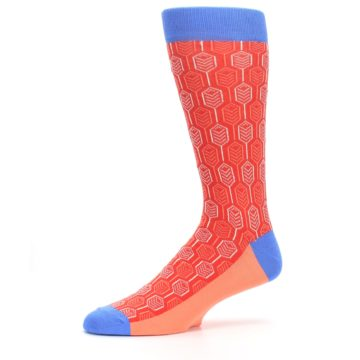 Image of Persimmon Red Blue Feather Optics Men's Dress Socks (side-2-10)