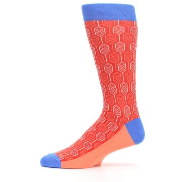 Image of Persimmon Red Blue Feather Optics Men's Dress Socks (side-2-11)