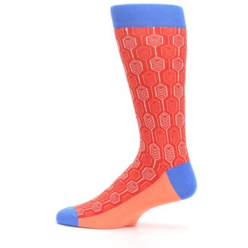 Image of Persimmon Red Blue Feather Optics Men's Dress Socks (side-2-12)