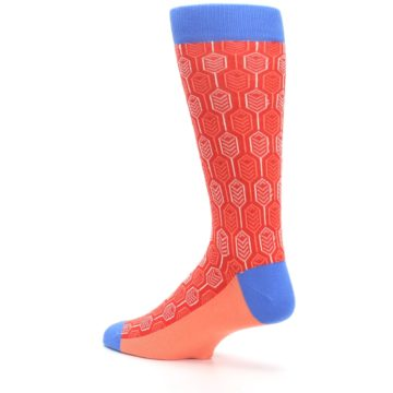 Image of Persimmon Red Blue Feather Optics Men's Dress Socks (side-2-back-14)