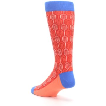 Image of Persimmon Red Blue Feather Optics Men's Dress Socks (side-2-back-15)