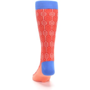 Image of Persimmon Red Blue Feather Optics Men's Dress Socks (back-17)