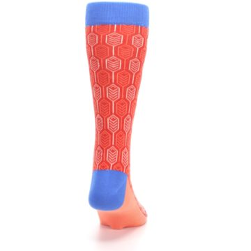 Image of Persimmon Red Blue Feather Optics Men's Dress Socks (back-19)