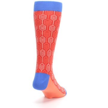Image of Persimmon Red Blue Feather Optics Men's Dress Socks (side-1-back-20)