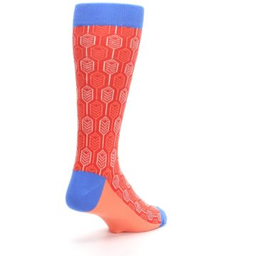 Image of Persimmon Red Blue Feather Optics Men's Dress Socks (side-1-back-21)