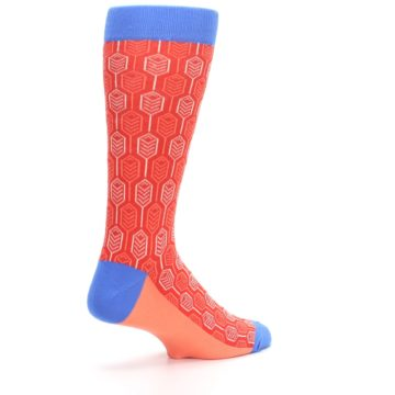 Image of Persimmon Red Blue Feather Optics Men's Dress Socks (side-1-back-22)