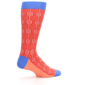 Image of Persimmon Red Blue Feather Optics Men's Dress Socks (side-1-23)