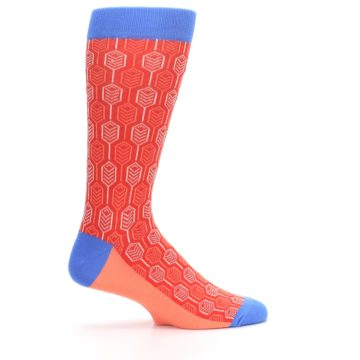 Image of Persimmon Red Blue Feather Optics Men's Dress Socks (side-1-24)