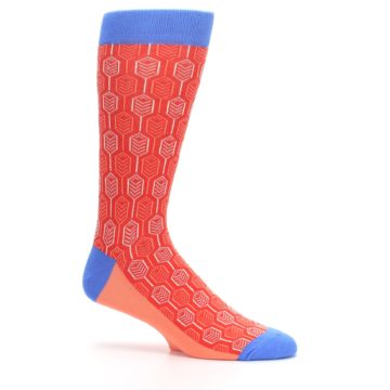 Image of Persimmon Red Blue Feather Optics Men's Dress Socks (side-1-25)