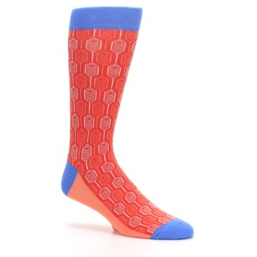 Image of Persimmon Red Blue Feather Optics Men's Dress Socks (side-1-26)