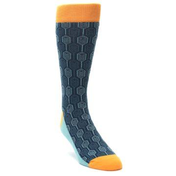 Image of Teal Orange Feather Optics Men's Dress Socks (side-1-front-02)