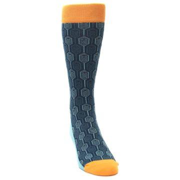 Image of Teal Orange Feather Optics Men's Dress Socks (side-1-front-03)