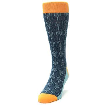 Image of Teal Orange Feather Optics Men's Dress Socks (side-2-front-06)