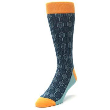 Image of Teal Orange Feather Optics Men's Dress Socks (side-2-front-07)
