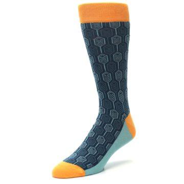 Image of Teal Orange Feather Optics Men's Dress Socks (side-2-front-08)