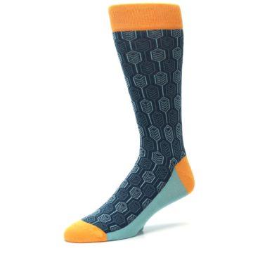 Image of Teal Orange Feather Optics Men's Dress Socks (side-2-09)
