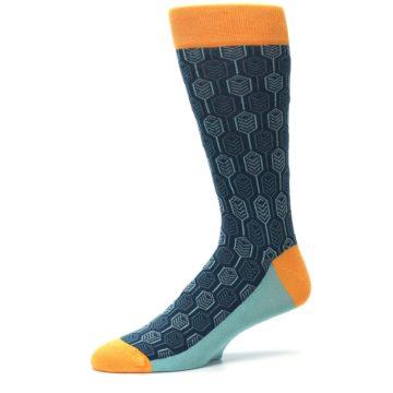Image of Teal Orange Feather Optics Men's Dress Socks (side-2-10)