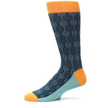 Image of Teal Orange Feather Optics Men's Dress Socks (side-2-11)