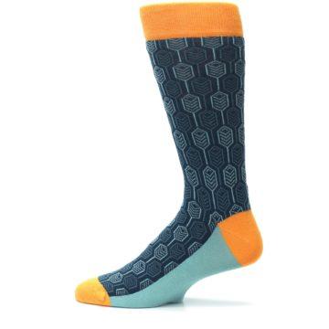 Image of Teal Orange Feather Optics Men's Dress Socks (side-2-12)