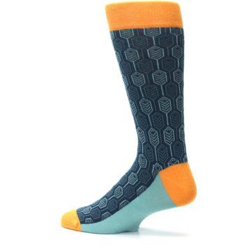 Image of Teal Orange Feather Optics Men's Dress Socks (side-2-13)