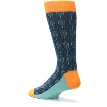 Image of Teal Orange Feather Optics Men's Dress Socks (side-2-back-14)