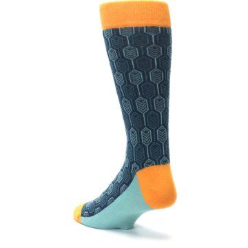 Image of Teal Orange Feather Optics Men's Dress Socks (side-2-back-15)