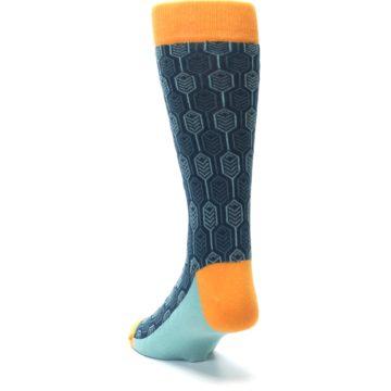 Image of Teal Orange Feather Optics Men's Dress Socks (side-2-back-16)