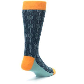 Image of Teal Orange Feather Optics Men's Dress Socks (side-1-back-21)