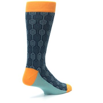Image of Teal Orange Feather Optics Men's Dress Socks (side-1-back-22)