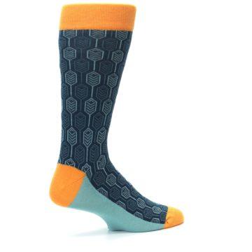 Image of Teal Orange Feather Optics Men's Dress Socks (side-1-23)