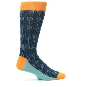 Image of Teal Orange Feather Optics Men's Dress Socks (side-1-24)