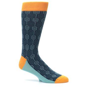 Image of Teal Orange Feather Optics Men's Dress Socks (side-1-25)